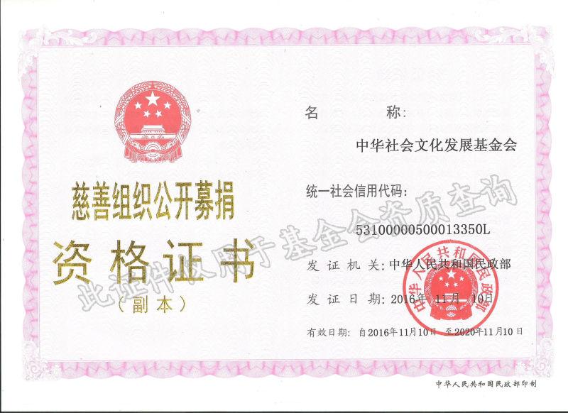 慈善组织公开募捐资格证书