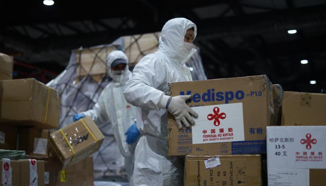 中国政府援哈萨克斯坦抗疫物资抵达阿拉木图